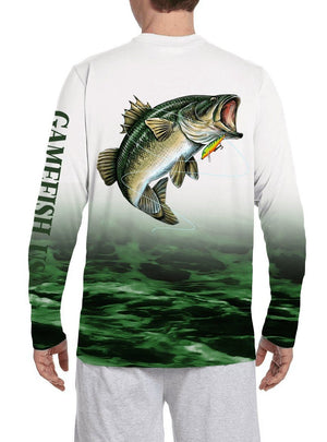 Men's UPF 50 Long Sleeve All Over Print Performance Fishing Shirt Bass - Gamefish USA