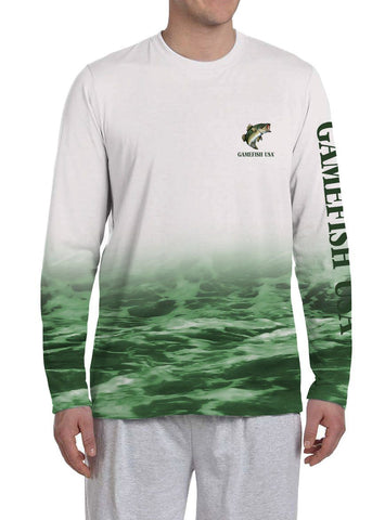 Image of Men's UPF 50 Long Sleeve All Over Print Performance Fishing Shirt Bass - Gamefish USA
