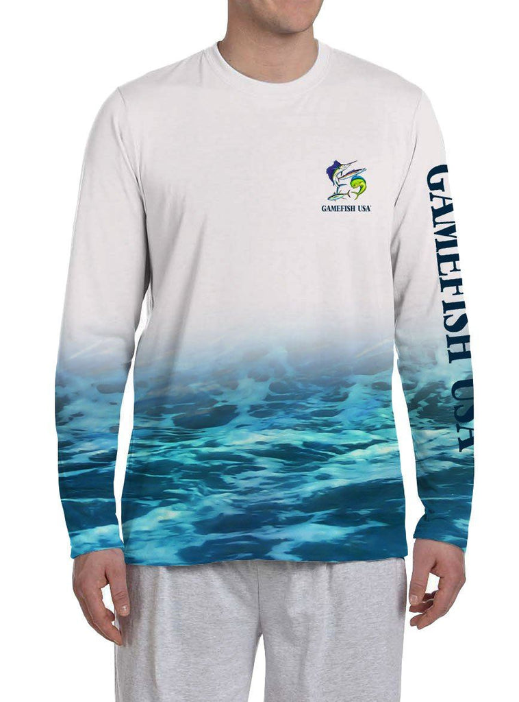 Men's UPF 50 Long Sleeve All Over Print Performance Fishing Shirt Gamefish - Gamefish USA