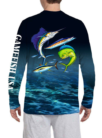 Image of Men's UPF 50 Long Sleeve All Over Print Performance Fishing Shirt Gamefish - Gamefish USA