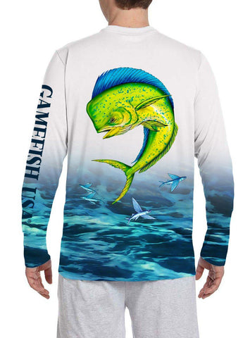 Image of Men's UPF 50 Long Sleeve All Over Print Performance Fishing Shirt Mahi - Gamefish USA