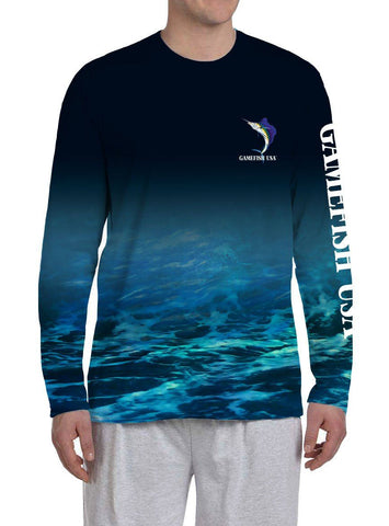 Image of Men's UPF 50 Long Sleeve All Over Print Performance Fishing Shirt Sailfish - Gamefish USA