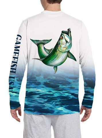 Image of Men's UPF 50 Long Sleeve All Over Print Performance Fishing Shirt Tarpon - Gamefish USA