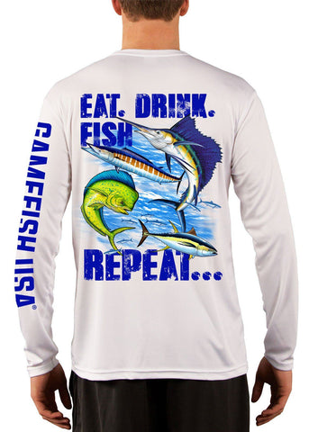 Men's UPF 50 Long Sleeve Microfiber Moisture Wicking Performance Fishing Shirt Gamefish Repeat - Gamefish USA