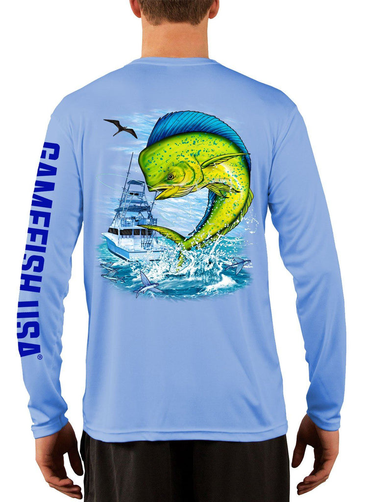 Men's UPF 50 Long Sleeve Microfiber Moisture Wicking Performance Fishing Shirt Mahi - Gamefish USA
