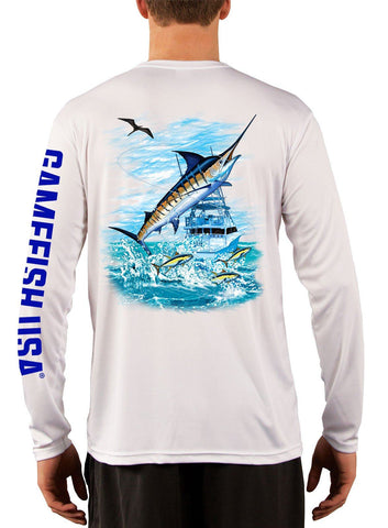 Image of Men's UPF 50 Long Sleeve Microfiber Moisture Wicking Performance Fishing Shirt Marlin - Gamefish USA