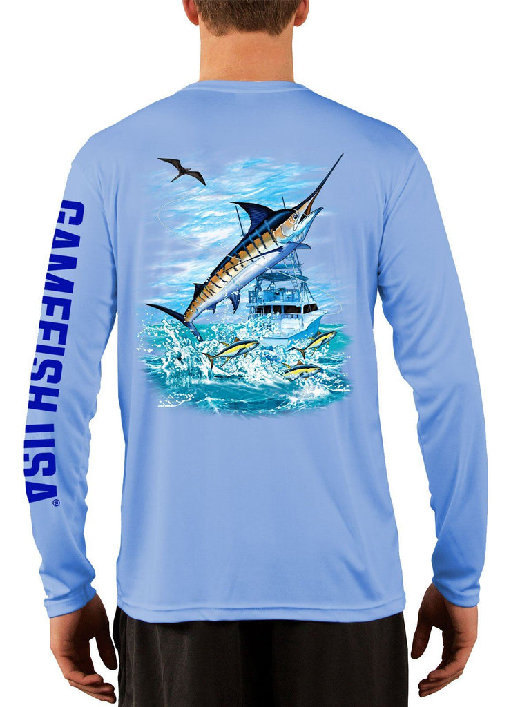Men's UPF 50 Long Sleeve Microfiber Moisture Wicking Performance Fishing Shirt Marlin - Gamefish USA
