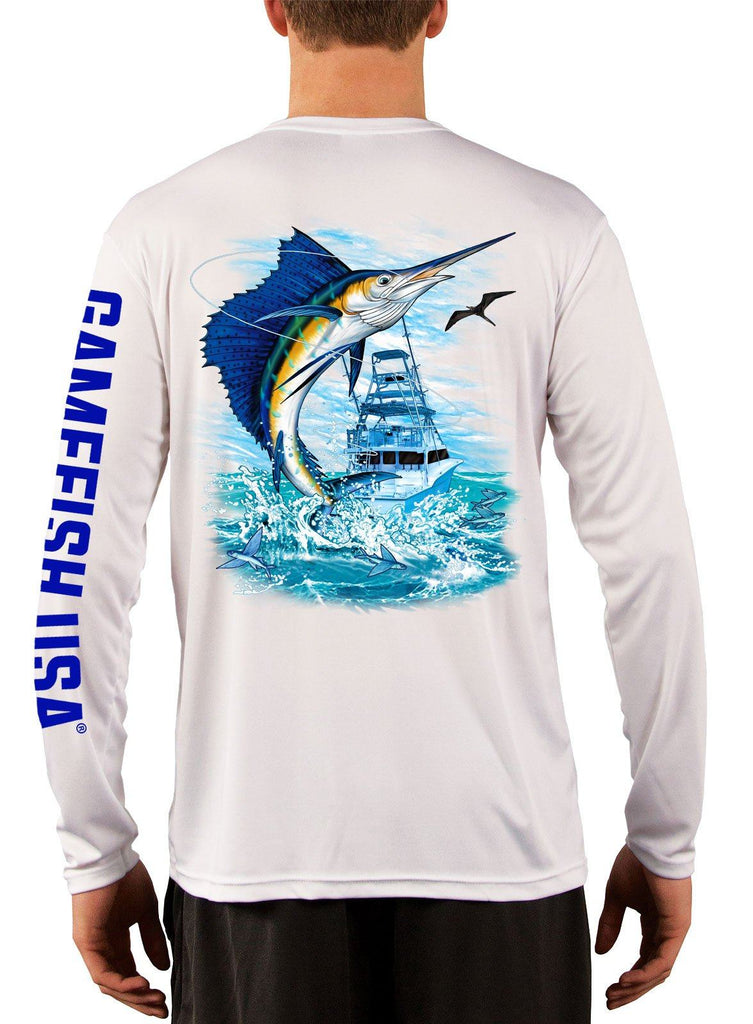 Men's UPF 50 Long Sleeve Microfiber Moisture Wicking Performance Fishing Shirt Sailfish - Gamefish USA