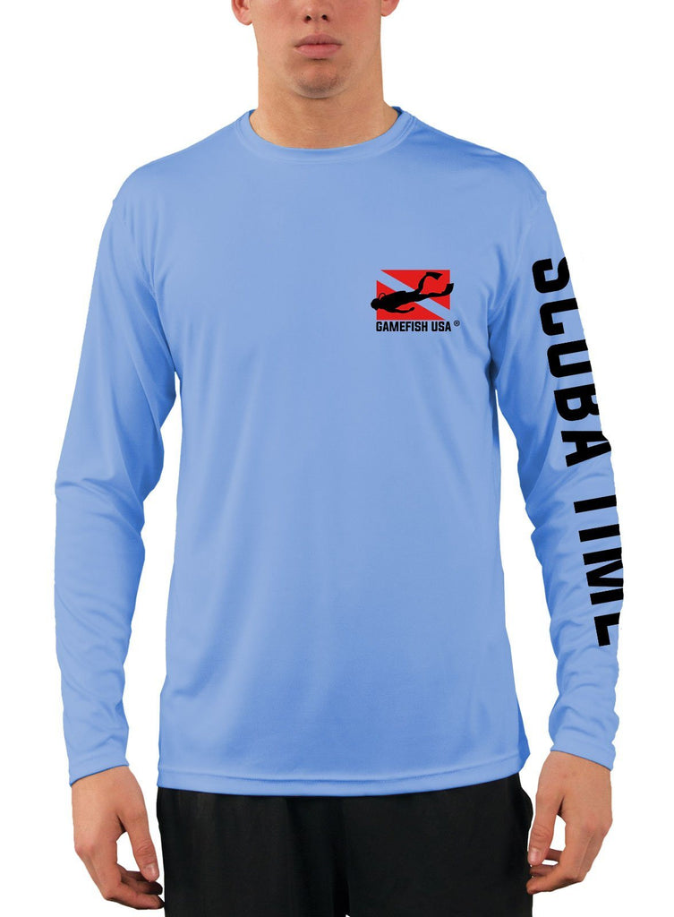 Men's UPF 50 Long Sleeve Microfiber Moisture Wicking Performance Fishing Shirt Scuba Tank - Gamefish USA