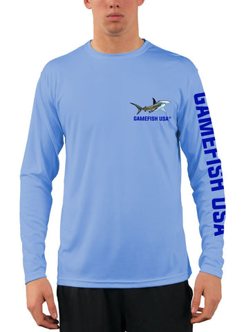 Men's UPF 50 Long Sleeve Microfiber Moisture Wicking Performance Fishing Shirt Sharks - Gamefish USA