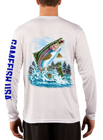 Image of Men's UPF 50 Long Sleeve Microfiber Moisture Wicking Performance Fishing Shirt Trout - Gamefish USA