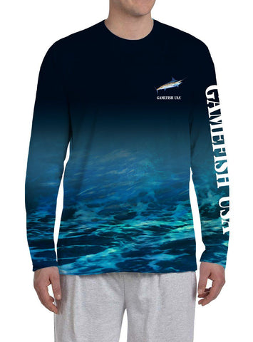 Image of Men's UPF 50 Long Sleeve Microfiber Moisture Wicking Performance Marlin - Gamefish USA