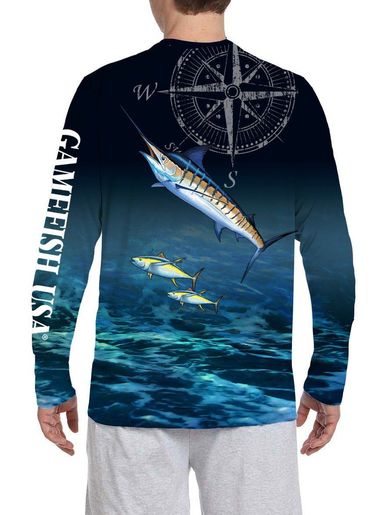 Men's UPF 50 Long Sleeve Microfiber Moisture Wicking Performance Marlin - Gamefish USA