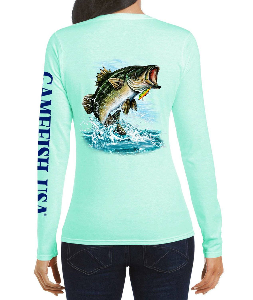 Women's UPF 50 Lightweight Microfiber Moisture Wicking Performance Fishing Shirt Bass - Gamefish USA