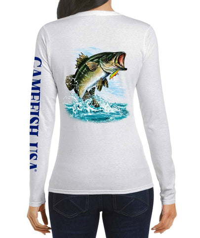 Image of Women's UPF 50 Lightweight Microfiber Moisture Wicking Performance Fishing Shirt Bass - Gamefish USA