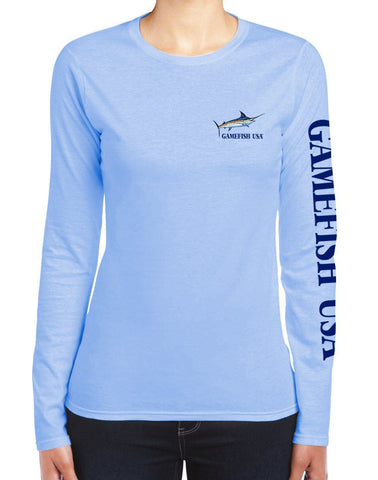 Image of Women's UPF 50 Lightweight Microfiber Moisture Wicking Performance Fishing Shirt Marlin - Gamefish USA