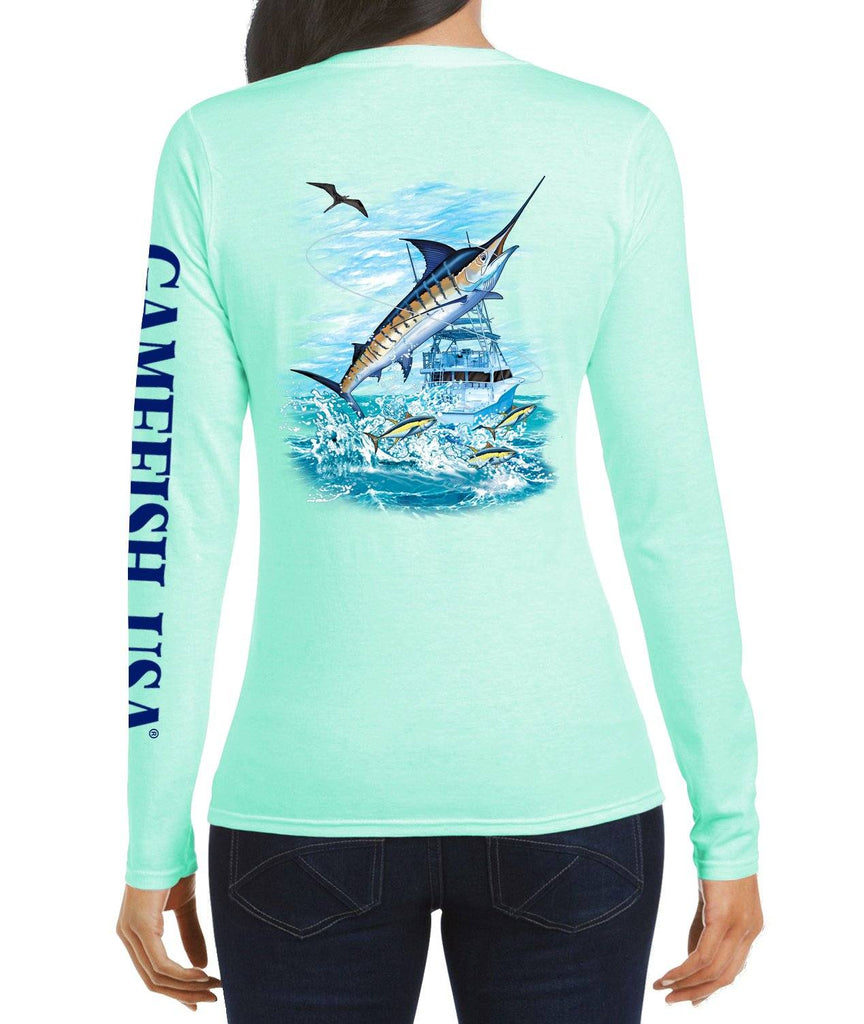 Women's UPF 50 Lightweight Microfiber Moisture Wicking Performance Fishing Shirt Marlin - Gamefish USA
