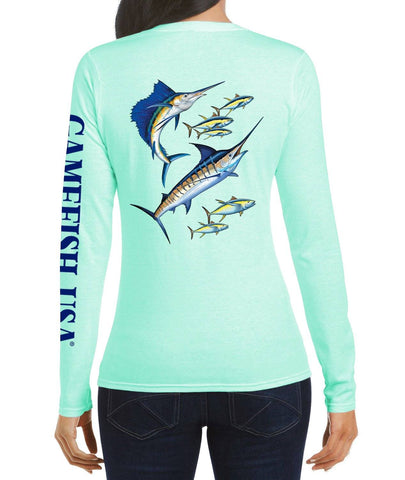 Women's UPF 50 Lightweight Microfiber Moisture Wicking Performance Fishing Shirt Marlin Tuna - Gamefish USA