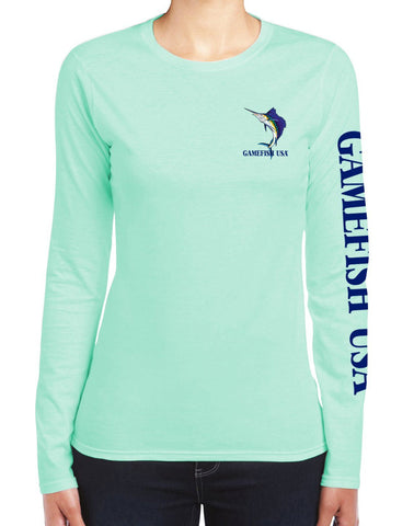 Image of Women's UPF 50 Lightweight Microfiber Moisture Wicking Performance Fishing Shirt Sailfish - Gamefish USA