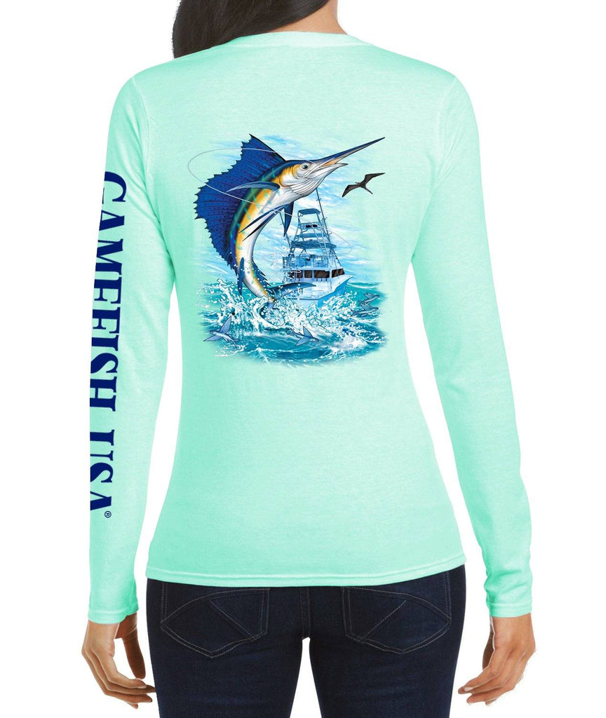Women's UPF 50 Lightweight Microfiber Moisture Wicking Performance Fishing Shirt Sailfish - Gamefish USA