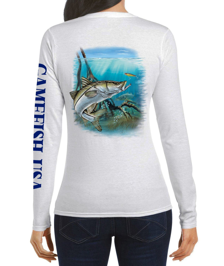 Women's UPF 50 Lightweight Microfiber Moisture Wicking Performance Fishing Shirt Snook - Gamefish USA