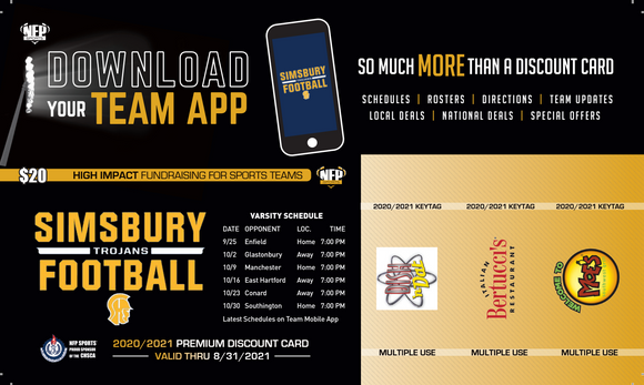 Simsbury Trojans Football Premium Discount Card 2020