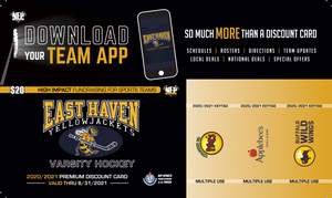East Haven Yellow Jackets Hockey Premium Discount Card 2020