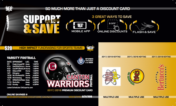 Canton Warriors Football Premium Discount Card