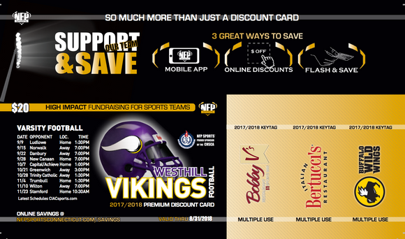 Westhill Vikings Football Premium Discount Card
