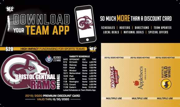 Bristol Central Rams Football Premium Discount Card