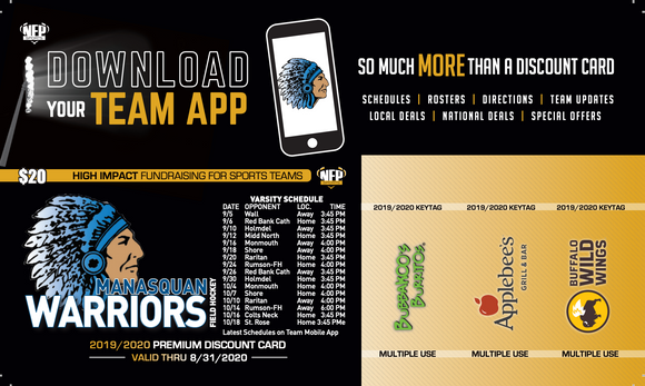 Manasquan Warriors Field Hockey Premium Discount Card