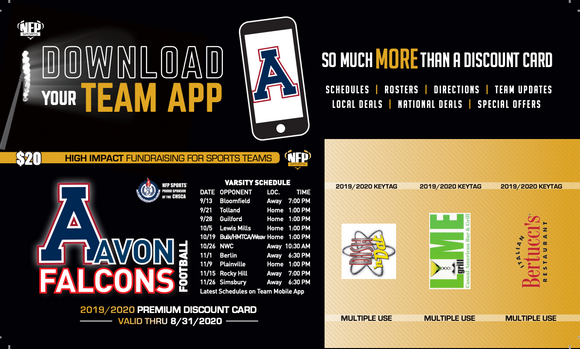 Avon Falcons Football Premium Discount Card 2019