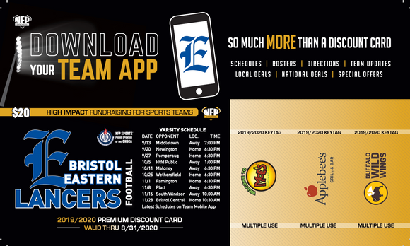 Bristol Eastern Lancers Football Premium Discount Card 2019