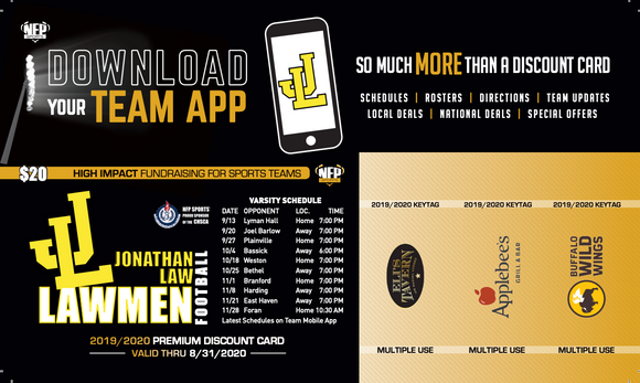 Jonathan Law Lawmen Football Premium Discount Card 2019