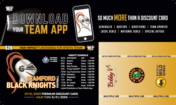 Stamford Black Knights Football Premium Discount Card 2019