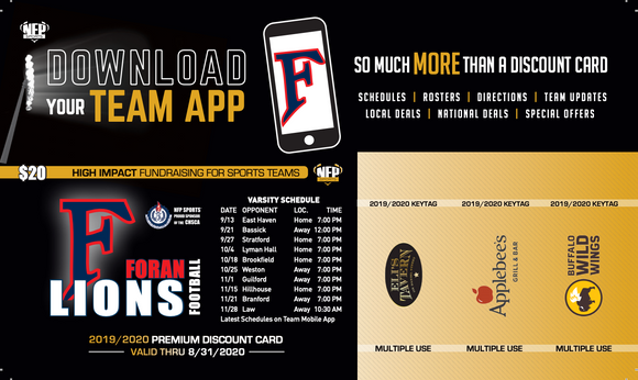 Foran Lions Football Premium Discount Card 2019