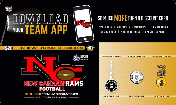 New Canaan Rams Football Premium Discount Card 2019