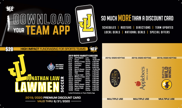 Jonathan Law Lawmen Soccer Premium Discount Card 2019