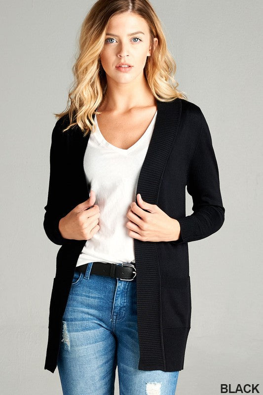 Long Sleeve Rib Band Open Front Cardigan