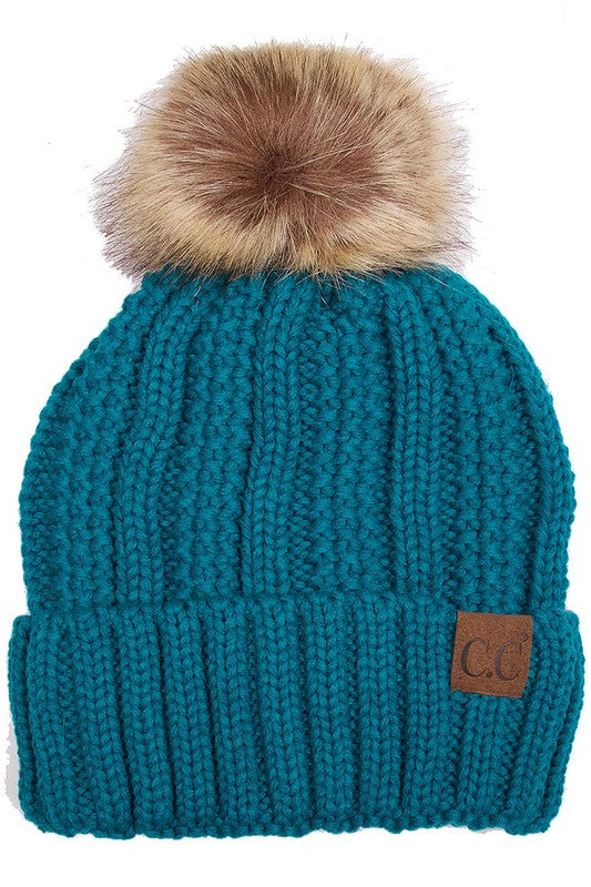 Fuzzy Fleece Lined CC Pom Hat