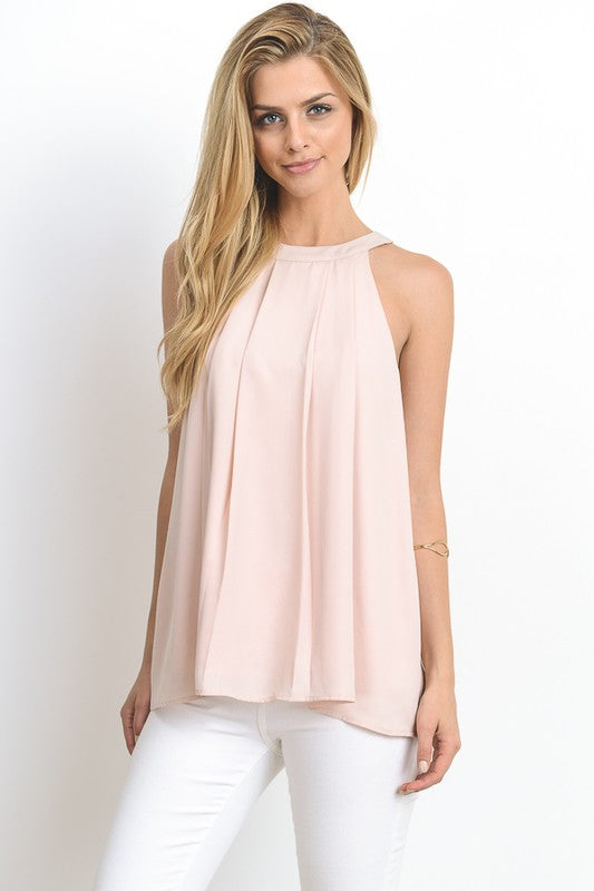 Racer Back Top with Tie Neck