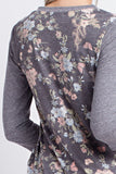 Floral Contrast 3/4 Sleeve Top