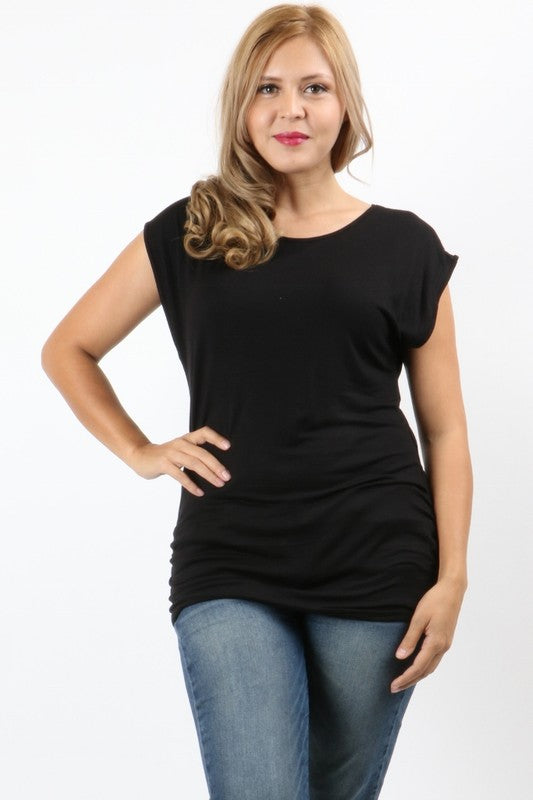 Curvy Crew Neck Top with Strappy Back Detail