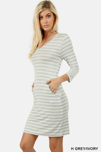 3/4 Sleeve Striped Dress with Pockets