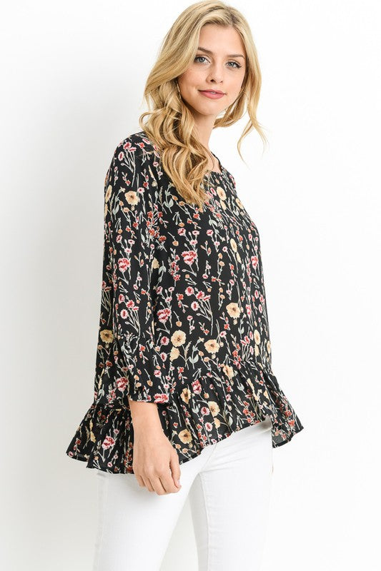 Floral Ruffled Sleeve Blouse