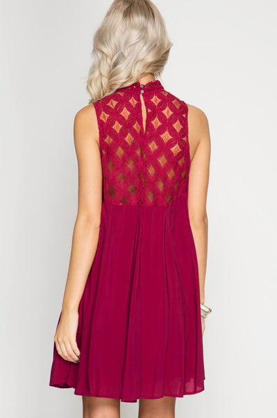 Lace Yoke Swing Dress