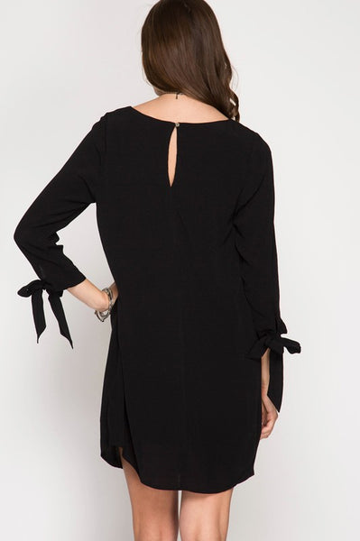 3/4 Sleeve Sheath Dress with Sleeve Ribbons