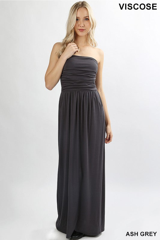 Tube Maxi Dress with Side Pockets