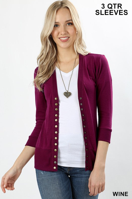 Snap Button Cardigan 3/4 Sleeve