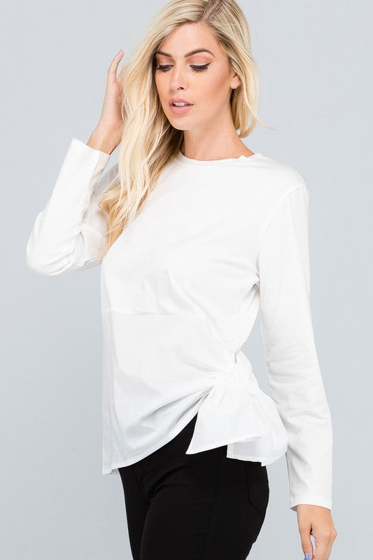 Long Sleeve Round Neck Top with Side Ribbon Detail